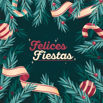 Felices fiestas with tree branches