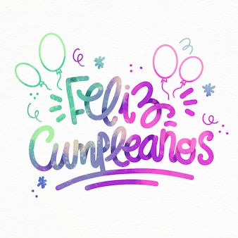 Feliz cumpleaños lettering with balloons