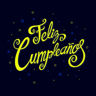 Feliz cumpleanos lettering with festive elements