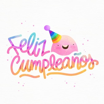 Feliz cumpleaños lettering with party hat