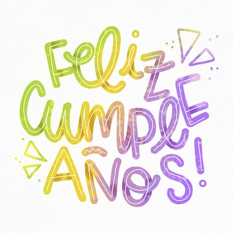 Feliz cumpleaños lettering con triangoli