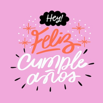Концепция надписи с feliz cumpleaños л