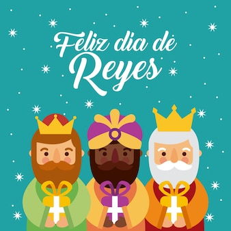 Feliz dia de los reyes three magic kings bring presents to jesus