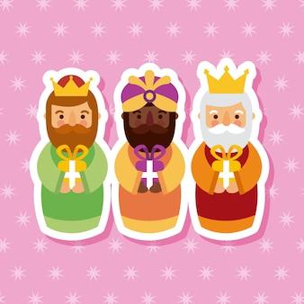 Фелиз dia de los reyes три волшебных короля приносят подарки иисусу