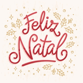 Feliz natal lettering illustration