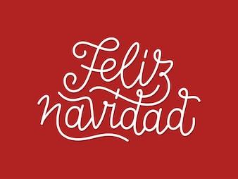 Feliz Navidad calligraphic line art typography
