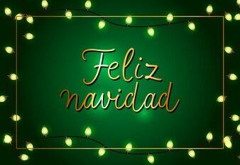 Feliz Navidad festive poster design. Christmas garlands