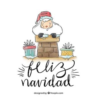 Priorità bassa dell'iscrizione di feliz navidad con santa in camino