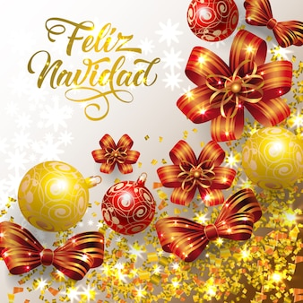 Feliz navidad lettering with confetti and baubles