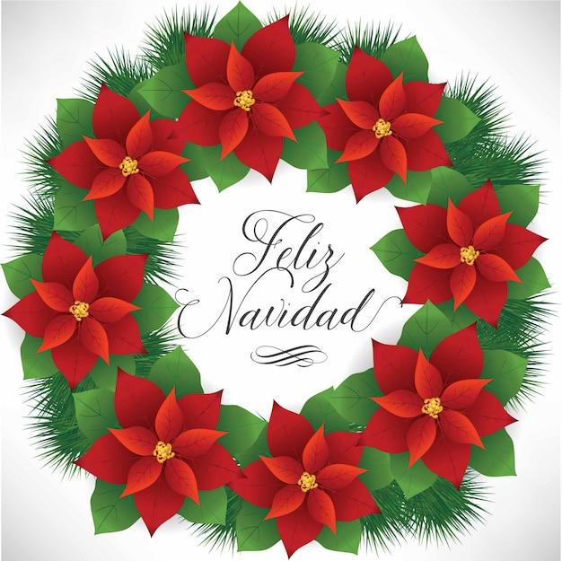 フェリスナヴィダード(スペイン語でメリークリスマス)ポインセチアリース-コピースペース
