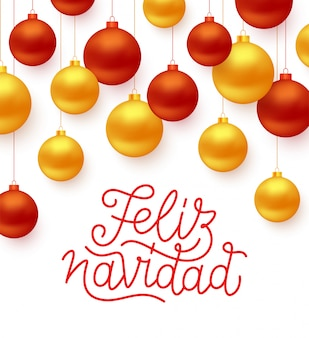 Feliz navidad spanish merry christmas line art style lettering text with red and gold