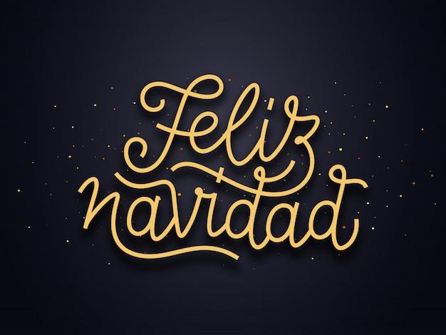 Feliz navidad wishes typography text. vector card