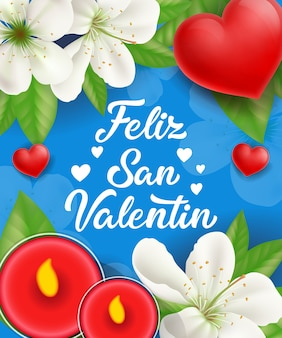 Feliz san valentin lettering with candles