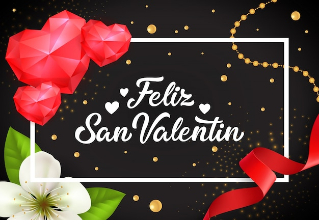 Feliz san valentin lettering with hearts