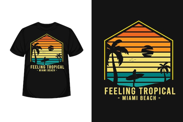 トロピカルサーフマイアミビーチグッズシルエットtシャツデザイン