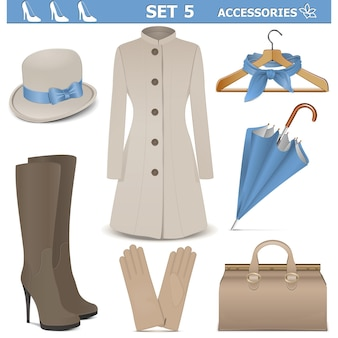 Female accessories set 5 isolated on white