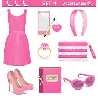 Female accessories set isolated on white