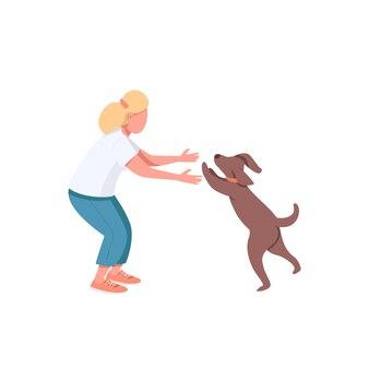 강아지와 여성 성인 운동