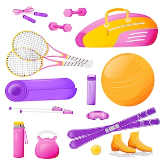 Female aerobics gear flat color objects set. pink bag fo tennis racket. fitness training. skipping rope. sports equipment 2d isolated cartoon illustrations on white background