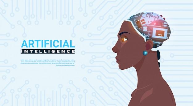 Female african american head with modern cyborg brain over circuit motherboard background artificial