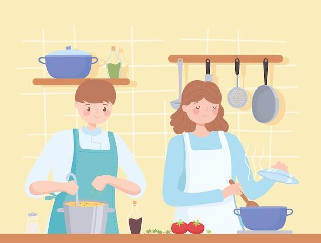 一緒に夕食を準備するイラストの女性と男性のシェフ