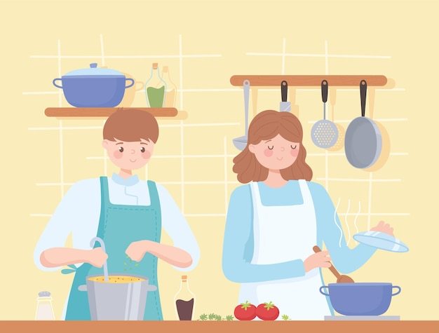 一緒に夕食を準備する女性と男性のシェフ