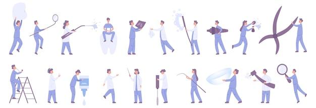 여성 및 남성 dentit 및 안과 의사 세트. 의료 도구를 들고 병원 제복을 입은 의사. 의학 및 건강 관리.