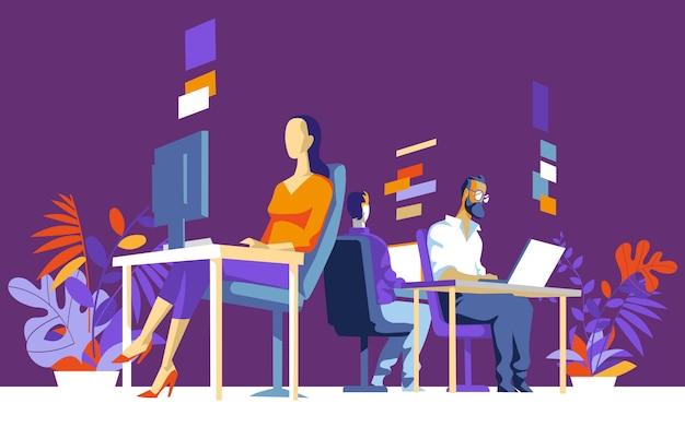Женские и мужские офисные работники, коллеги сидят, работают за компьютером