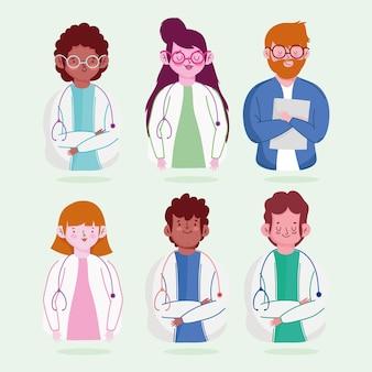 女性と男性の医師の専門スタッフのキャラクターのイラスト