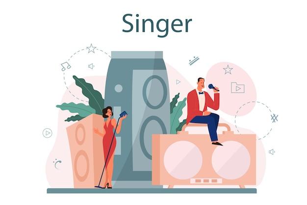 Женский и мужской певец концепции.