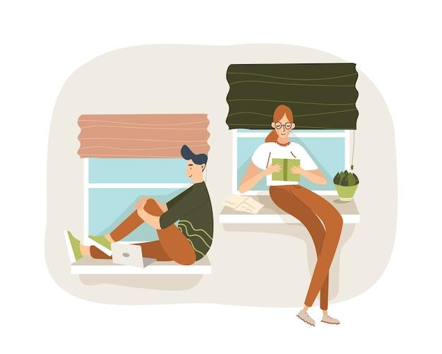 窓の近くに座っている男女の学生。本とノートパソコンを使って試験の準備をしています。彼女は読んでおり、彼はネットサーフィンをしている。漫画フラットイラスト。