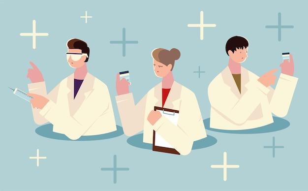 주사기와 백신 일러스트와 함께 여성과 남성 의사