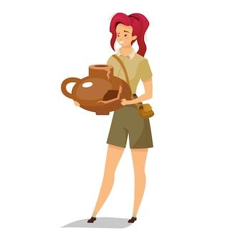 Female archeologist  color  illustration.