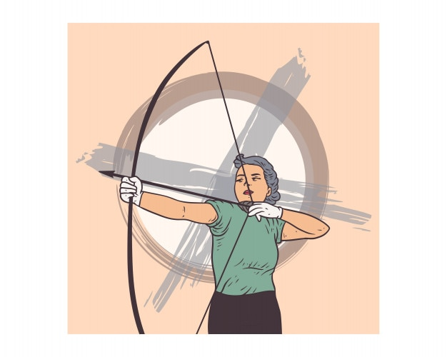 Female archers are preparing to shoot arrows vintage cartoon character
