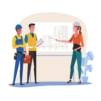 Female architect and construction engineer meeting for architectural project