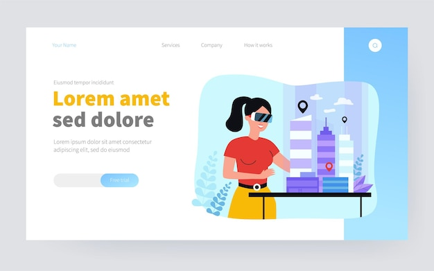 Female architect engineer building 3d city model in digital glasses flat vector illustration. cartoon character modeling office houses on table via vr. construction and headset vision concept
