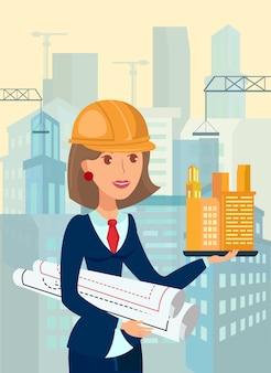 Female architect, foreman flat vector illustration