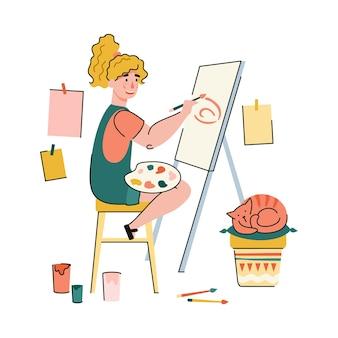 여성 예술가 만화 그림