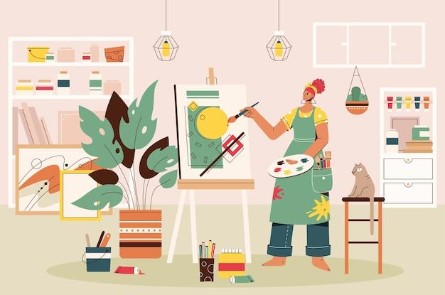 アートスタジオでキャンバスに絵を描く女性アーティスト。