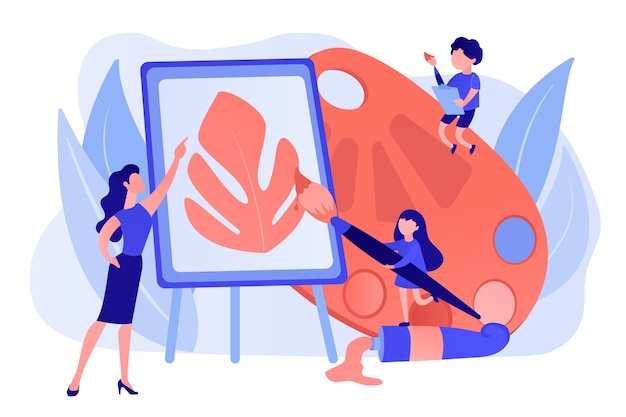 Female artist at easel teaching children painting with palette and brushes, tiny people. art studio, open art classes, modern arts gallery concept. pinkish coral bluevector isolated illustration