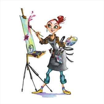 女性アーティストの手描き水彩イラスト。抽象主義者、パレットとイーゼルの漫画のキャラクターを持つ画家