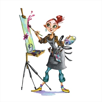 Female artist hand drawn watercolor illustration. abstractionist, painter with palettes and easels cartoon character