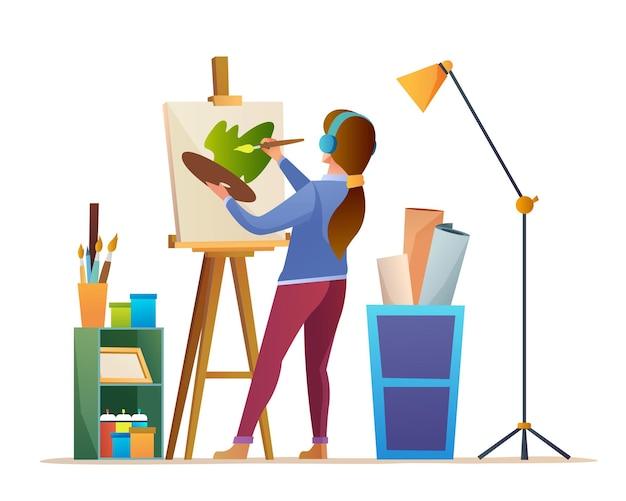 Female artist painting on canvas cartoon illustration