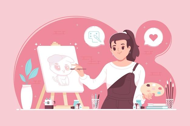 キャンバスイラストの背景に女性アーティストの絵画