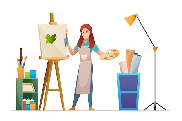 Художница рисует на холсте в студии концепции иллюстрации
