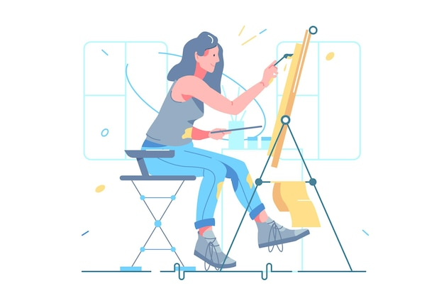 Женский художник рисует на мольберте векторные иллюстрации. девушка использует краски для создания шедевра на бумаге плоский стиль. искусство, вдохновение, хобби и концепция досуга. изолированные на белом фоне