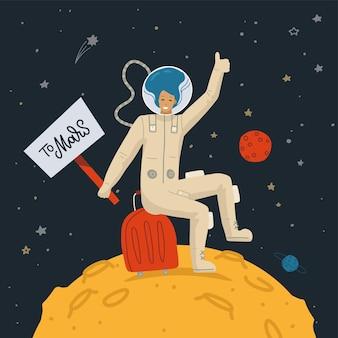 Female astronaut on the moon surface