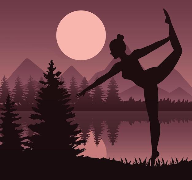 湖のシーンのベクトルイラストデザインでバレエスポーツシルエットを踊る女性アスリート
