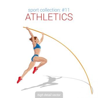 Female athlete pole jump illustration.