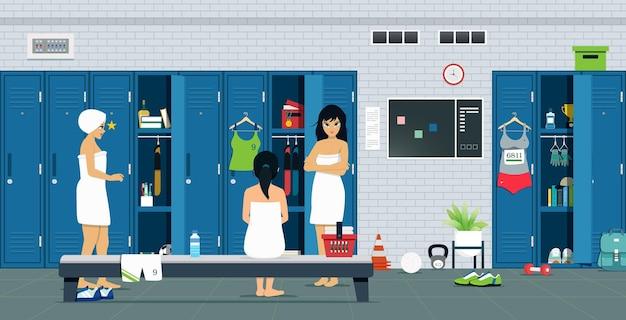 ロッカーとスポーツ用品を備えた女性アスリートルーム。